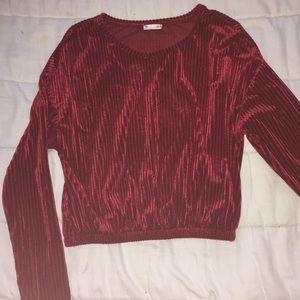 Zara red velvet long sleeve crop top